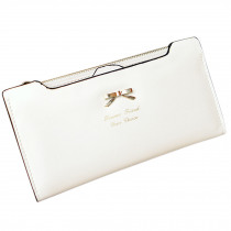 2018 new Fashion and high quality Soft Leather women wallets Bowknot Clutch bag Long PU Card Purse,wallet for womens-White