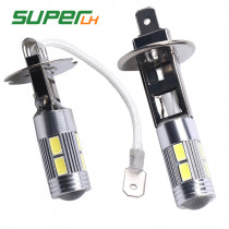 1Pcs H1/H3 LED Super Bright White 10SMD 5630 Replacement Bulbs For Car Fog Lights Daytime Running Lights DRL Lamps Accessories