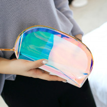 1 PC Semicircle Shape Cosmetic Bag for Women Colorful laser Makeup Pouches Zipper Travel Organizer Toiletry Wash Beauty Storage
