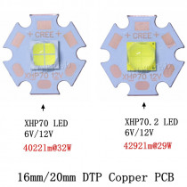 2pcs CREE XHP70 XHP70.2 XHP-70 2 generation Cool White Neutral White Warm White LED Didoes 6V 12V with 16mm 20mm Copper PCB