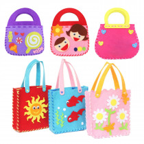 Kids 1pc Cute Colorful Cartoon Animal Pattern DIY Felt Handbag Non-woven Cloth Fabric Purse Bags Sewing Craft Toy Random Style
