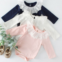 Baby Girl Romper Fashion Spring Newborn Baby Clothes For Girls Lace Collar Cotton Long Sleeves Kids Jumpsuit Baby Girls Outfits