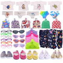 Free Shipping By E-Packet Doll Clothes 1 Set=7 Pcs Doll Clothes Shoes Accessories Fit 18 Inch American & 43 Cm Born Doll Girl`s