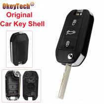 OkeyTech 3 Buttons Original Car Key Shell Replacement Remote Key Case Cover Fob For Peugeot 208 308 508 3008 5008 Uncut Blade