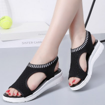 Women Sandals Peep Toe Wedges Shoes For Women Summer Sandals Breathable Knitting Chaussures Femme Casual Wedge Heels Sandals 43