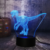 New Jurassic World Dinosaur Velociraptor Clever Blue 3D LED Night Light Table Lamp Holiday 7 Colors Boy Kid Christmas Party Gift
