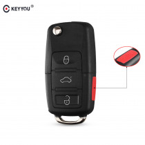 KEYYOU 3+ 1 Panic 4 Buttons Flip Remote Key Shell fit for VOLKSWAGEN VW Touareg Switchblade Flip Case Fob