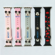 Cute Mickey Mouse hellokitty Ears silicone strap for apple watch band 44 40 38 42 mm for iwatch 1/2/3/4 Replaceable Accessories
