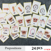 Prepositions and Gestures Series English Word Flash Card Children Learning Card Early Educational Toys