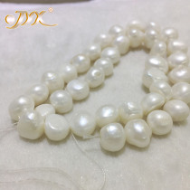 JYX Baroque Loose Pearl Jewelry Wholesale 8-11mm White Real Cultured Freshwater Pearl String 15