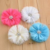 5PCS Chiffon Flower With Crystal Rhinestone Button For Infant Toddler Hair Accessories Baby Headband Shabby Chic Hair Flowers