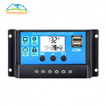 Solar Controller 12V/24V Auto Solar Charge Controller 30A/20A/10A WM Controllers LCD Dual USB 5V Output Solar Panel PV Regulator