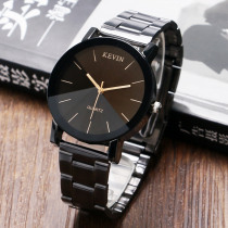 New Fashion Full Black SimpleMen Stainless Steel Quartz Wristwatch Male Clock Causal Dress Watch