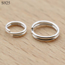 10pcs Real Pure Solid 925 Sterling Silver Double Open Jump Rings Split Ring for Making Key Chains Jewelry Findings Accessories