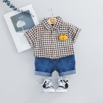 HYLKIDHUOSE 2019 Summer Toddler Infant Clothing Sets Baby Boys Clothes Suits Plaid Shirt Shorts Kids Children Casual Costume