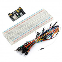 MB102 Power Supply Module 3.3V 5V +16.5 x 5.5 x 0.85 cm Breadboard Circuit Bread Board 830 Point DIY + 65pcs Jumper Cable Wire