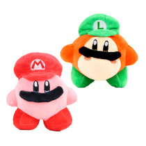 2 Style Super Mario Kirby Plush Toys Green & Red Hat Kirby Stuffed Plush Doll Gifts Toys for Children