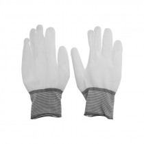 UANME 1 Pair ESD Safe Gloves White Anti-static Anti-skid PU Finger Top Coated for Electronic Repair Works