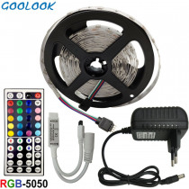 5m 10m 15m LED Strip SMD RGB 5050 LED Strip Light RGB Fita Ribbon Flexible DC 12V led stripe with Remote Controller and Adapter