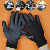 1 Pair PU Coated Working Safety Gloves Nylon Knitted Gloves For Driver Worker Builders Gardening Protective Gloves