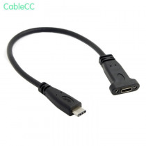 USB-C USB 3.1 Type C Male to Female Extension Data Cable with Panel Mount Screw Hole  Length: 20cm  Type C connector is the new