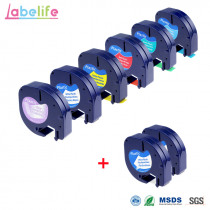 Labelife 8 Pack Combo LetraTag Plastic 12267 91201 91202 91203 91204 91205 Compatible DYMO Label Tape for DYMO Label Makers
