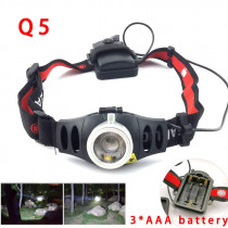 Zoomable Q5 LED Headlamp Headlights AAA Battery focus frontal high power Head Lamp light Torch Flashlight for Fishing camping