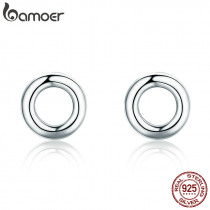 BAMOER New Arrival Fashion 925 Sterling Silver Minimalism Round Circle Stud Earrings for Women Sterling Silver Jewelry SCE349-1H