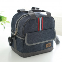 new Quality denim lunch bag thermal food bag casual insulated lunch box picnic bag thermo cooler food for kids women or men