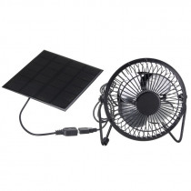 -High Quality 4 Inch Cooling Ventilation Fan USB Solar Powered Panel Iron Fan For Home Office Outdoor Traveling Fishing