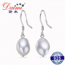 DAIMI 9-10mm Baroque Pearl Earrings Natural Freshwater Pearl 925 Silver French Hook Dangle Earrings
