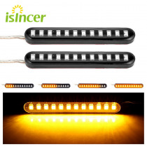 Universal 2Pcs Sequential Water Flowing 12 LED Mini Strips Motorcycle Car Strips Led Turn Signal flasher Lights Amber marke lamp