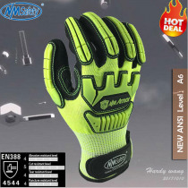 NMSafety Fluorescent Yellow Nylon Shock Absorbing Mechanics Safety Glove Anti Vibration Oil and Gas Impact Resistant Work Glove