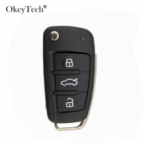 OkeyTech 3 Buttons Remote Replacement Car Key Shell For Audi A2 A3 A4 A6 A6L A8 Q7 TT Flip Folding Key Case Uncut Blade