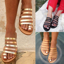 2019 Women's Slippers Summer Beach Casual Shoes Ladies Flat Heel Strap Slippers Roman Shoes Female Flip Flops Outdoor Casual Hot