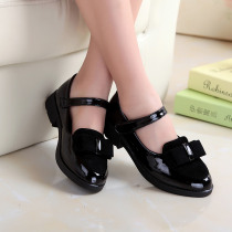 Large Size 27-37 Children's Single Shoes Girls Low-heeled Square Bow Princess Dance Shoes Patent Student Performance Shoes