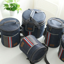 Oxford Denim Drum Cooler Bag Thermo Lunch Picnic Box Insulated Cool Backpack Ice Pack Fresh Carrier Thermal Shoulder Bags