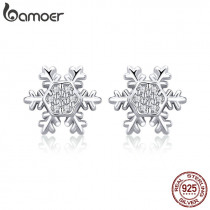BAMOER Trendy 925 Sterling Silver Winter Snowflake Exquisite Stud Earrings for Women Fashion Wedding Engagement Jewelry BSE009