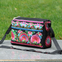 National Embroidery Women Travel handbag!Nice Floral embroidered Lady Shoulder&Crossbody bags Multi Vintage Three-layers Carrier