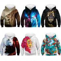 Cool Boys Girls Hoodies Teenagers Spring Autumn Outerwear Kids 3D Print Wolf Hooded Sweatshirt Clothes Children's Pullover Tops