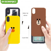 Slide Phone Cases For iPhone 6 6s Plus 7 8 X Xs Brown Bear Make Up Mirror Card Slot Silicone Shockproof Cute Cartoon Covers SJ15