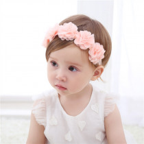 Baby Headband Flowers Girls Pink Ribbon Hair Bands Handmade Headwear Hair Elastic Tiara For Girl Newborn Babies Hair Accessories