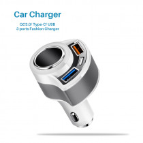 Car Charger QC3.0 Quick Charge USB Charger Type C  Mobile Phone 3 port Smart Universal Charger Adapter for Samsung Xiaomi iphone