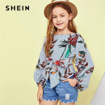 SHEIN Kiddie Tie Waist Zip Back Floral Print Zipper Vacation Blouse Girls Tops 2019 Spring Long Sleeve Tee Shirts Kids Clothes