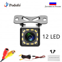 Podofo 12 LED Light Car Rear View Camera Universal Auto Front Backup Parking Camera Waterproof 170 Wide Angle HD Color Image