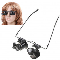 Wearing Type 20X Magnifier,Dual Eye Lens Loupe,Jeweler Magnifying Glass Optical Lens Tool with 2 LED Light for Electronic Repair