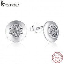 Authentic 925 Sterling Silver Signature Round Stud Earrings With Clear CZ Compatible with Original Jewelry PAS404