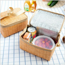 New Portable Insulated Thermal Cooler Lunch Box Bags Imitation Rattan Plaited Food Carry Tote Picnic Case Storage Bag