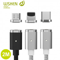 WSKEN Mini 2 Magnetic Cable USB Type C Magnetic Charging Cable for iPhone QC 2.0 Fast Charger Micro USB Cable USB C Cable Wire