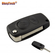 OkeyTech 2 Buttons Remote Car Key Case Shell Fob For Alfa Auto Key Replacement with Uncut Blank Blade